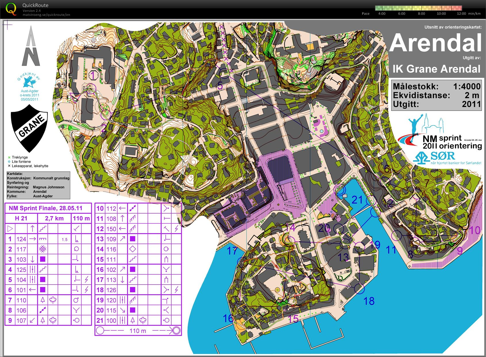 NM Sprint Arendal H21 course (09/07/2013)
